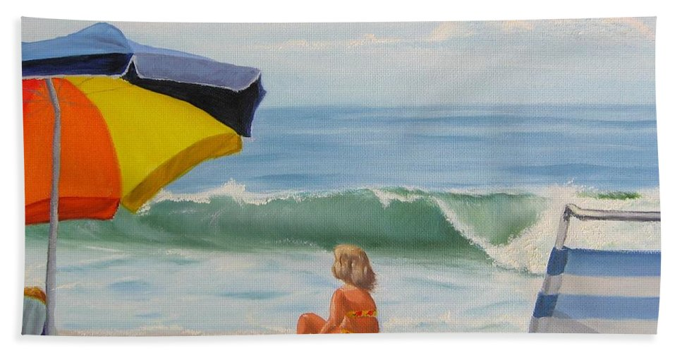 Seascape Hand Towel featuring the painting Beach Scene - Childhood by Lea Novak