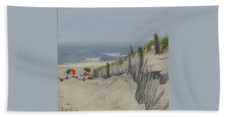 Beach Bath Sheet featuring the painting Beach Scene Miniature by Lea Novak