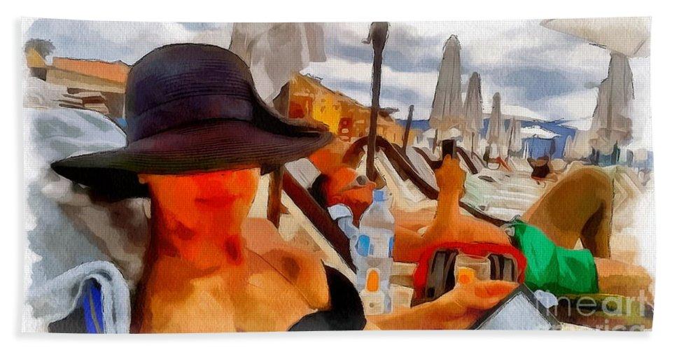 Beach Sea Girl Sun Sureal Hand Towel featuring the mixed media Beach Sea Girl Sun by Yury Bashkin