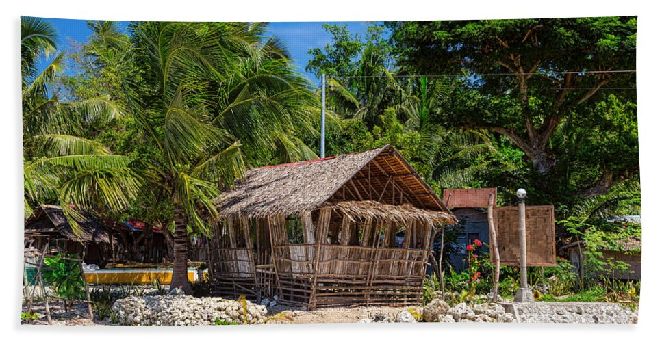 Hut Hand Towel featuring the photograph Beach Side Nipa Hut by James BO Insogna