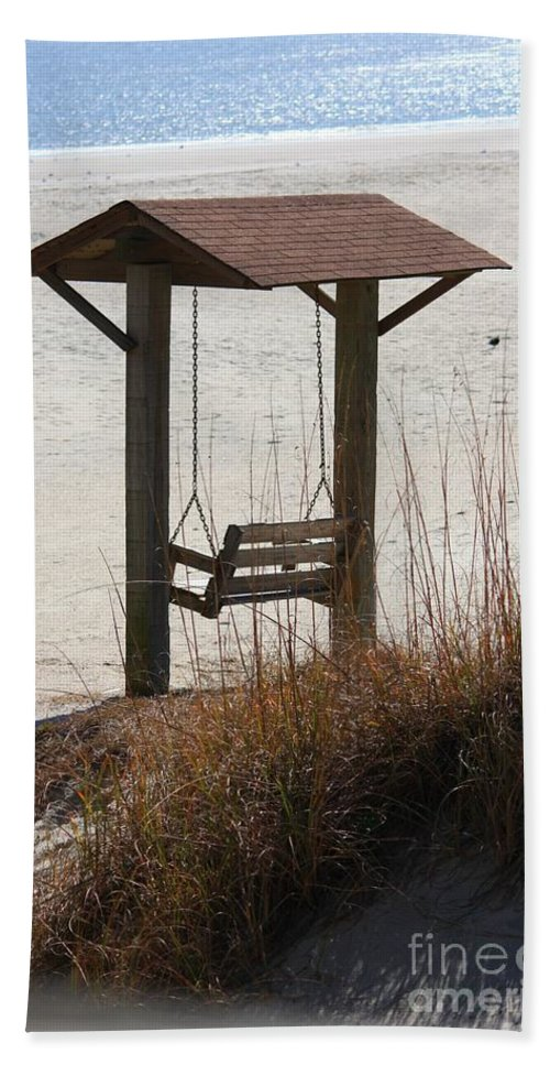 Beach Bath Sheet featuring the photograph Beach Swing by Carol Groenen