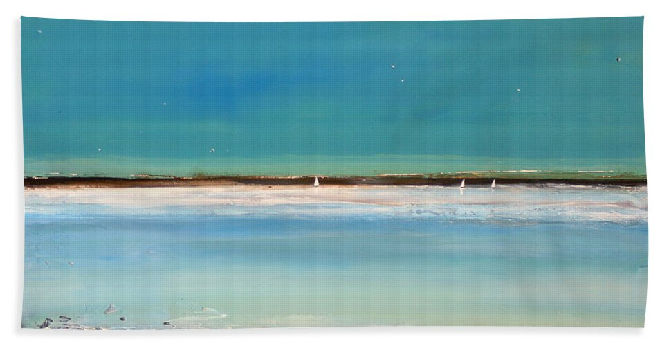 Landscape Bath Sheet featuring the painting Beach Textures by Toni Grote