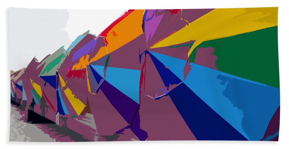 Beach Umbrellas Bath Sheet featuring the painting Beach Umbrella Row by David Lee Thompson