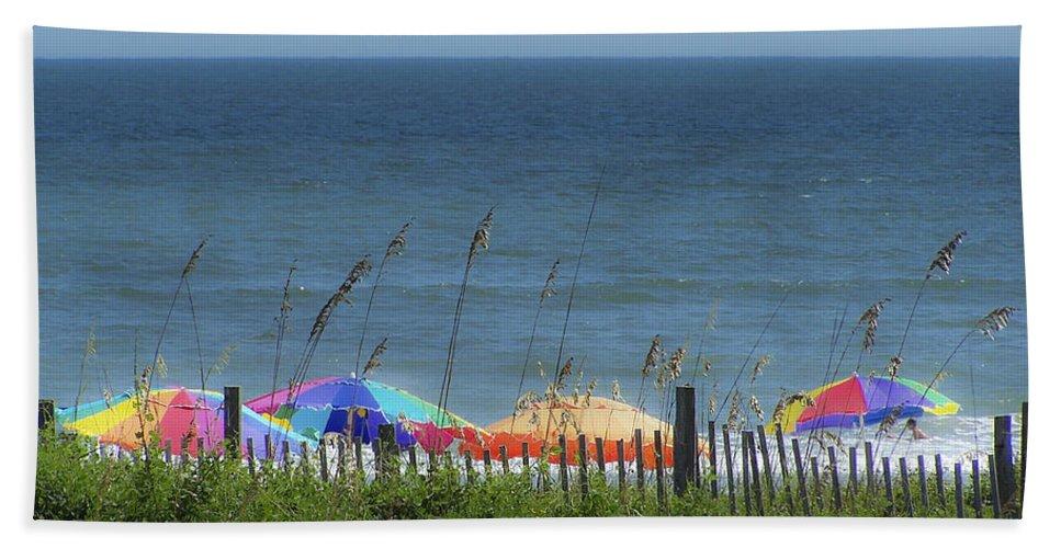 Beach Hand Towel featuring the photograph Beach Umbrellas by Teresa Mucha