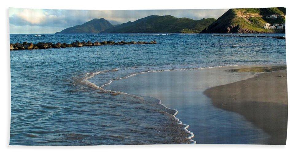 St Kitts Hand Towel featuring the photograph Beach Walk by Ian MacDonald