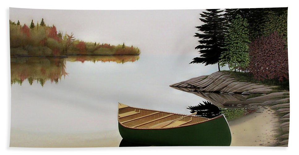 Canoe Paintings Hand Towel featuring the painting Beached Canoe In Muskoka by Kenneth M Kirsch