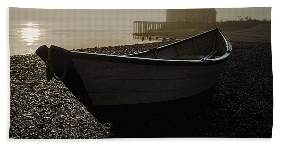 Beached Dory Bath Sheet featuring the photograph Beached Dory 2 by Marty Saccone