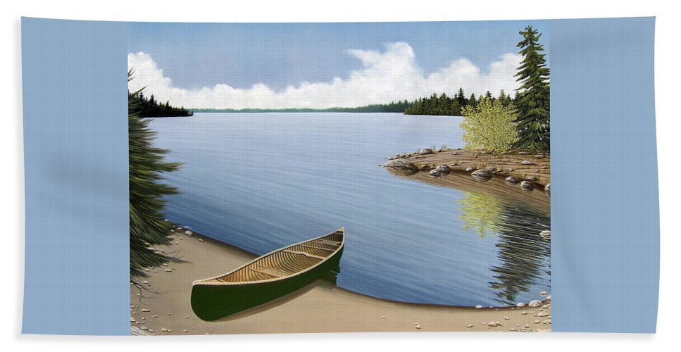 Canoe Bath Towel featuring the painting Beached In Ontario by Kenneth M Kirsch