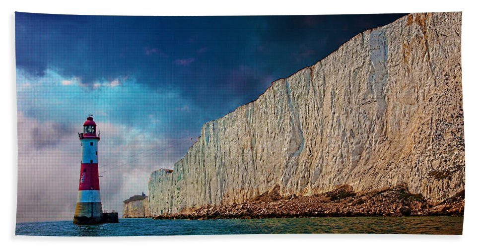 Cliff Hand Towel featuring the photograph Beachy Head Lighthouse And Cliffs by Chris Lord