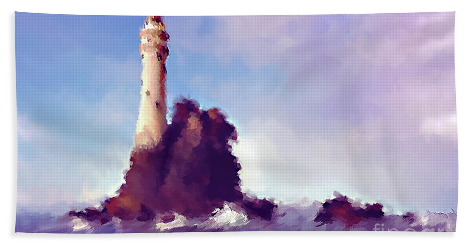 Beacon On The Rock Bath Sheet featuring the mixed media Beacon On The Rock by KaFra Art
