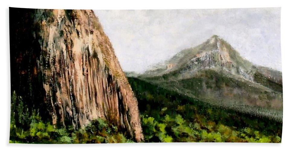 Landscape Hand Towel featuring the painting Beacon Rock Washington by Jim Gola
