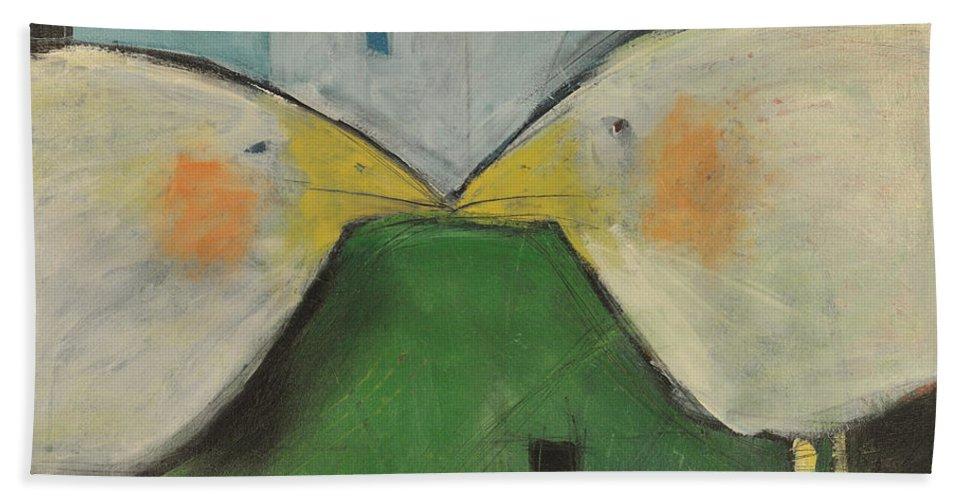 Birds Bath Sheet featuring the painting Beak To Beak by Tim Nyberg