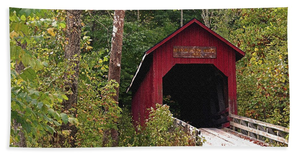 Covered Bridge Hand Towel featuring the photograph Bean Blossom Bridge I by Margie Wildblood