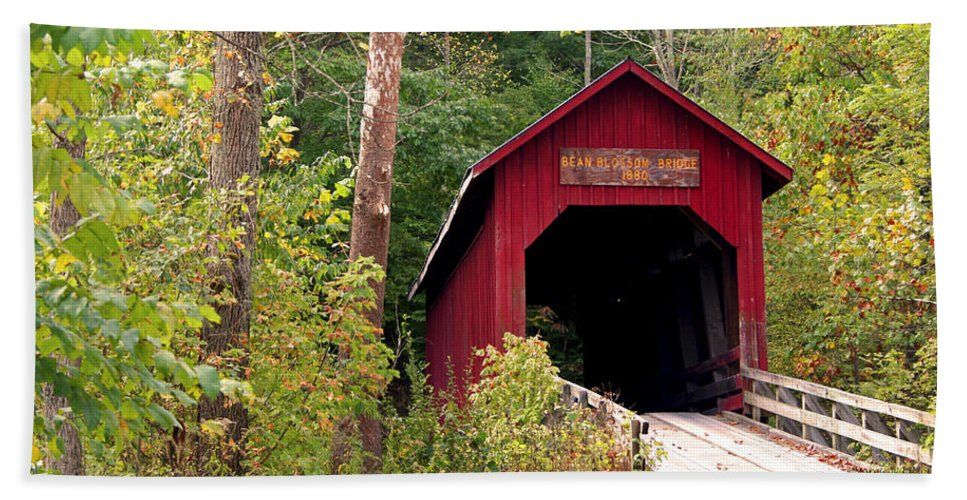 Covered Bridge Hand Towel featuring the photograph Bean Blossom Bridge II by Margie Wildblood