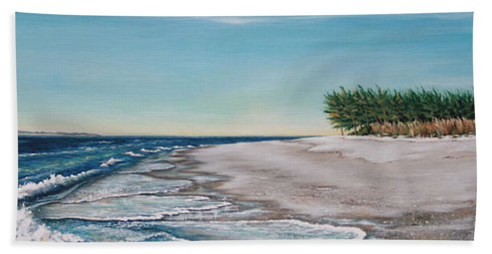 Beach Hand Towel featuring the painting Bean Point by Joan Garcia