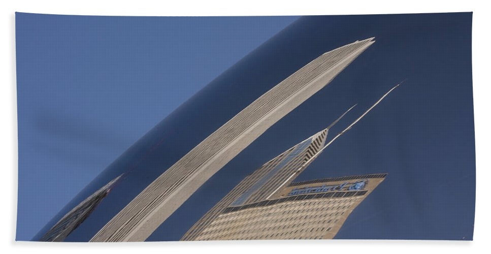 Chicago Windy City Wind Sky Blue Bean Reflection Art Park Building City Metro Urban Hand Towel featuring the photograph Bean Reflection by Andrei Shliakhau