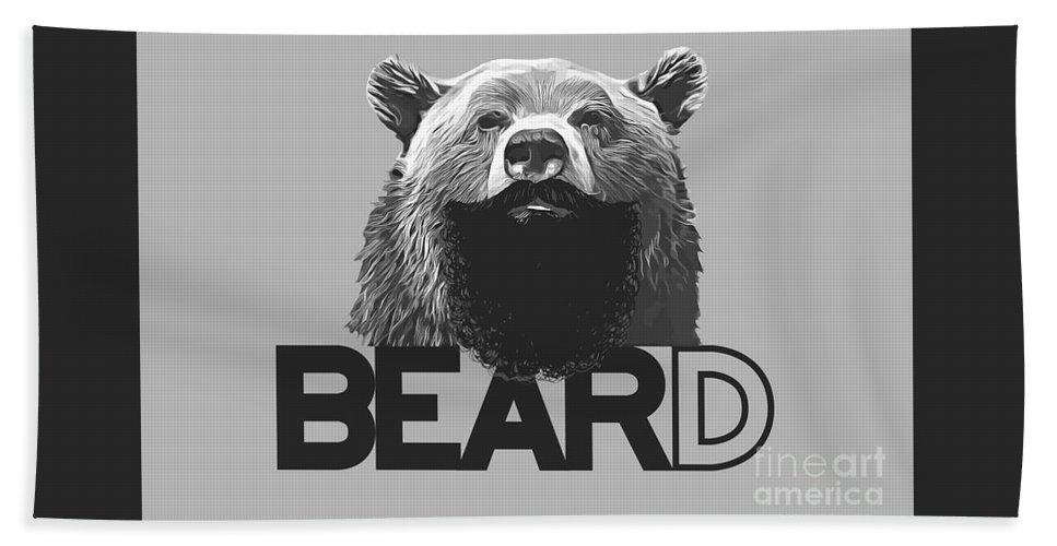 Bear Bath Sheet featuring the digital art Bear And Beard by Fred WAM