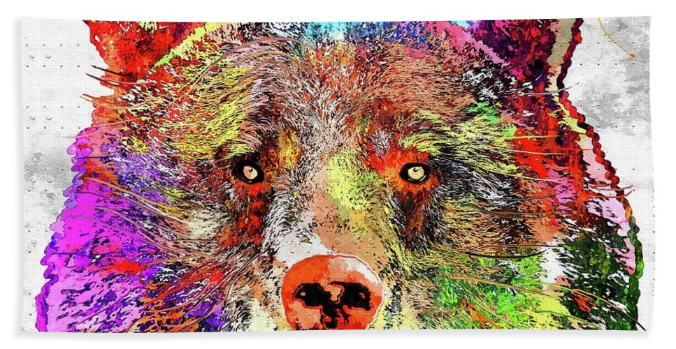 Bear Colored Hand Towel featuring the mixed media Bear Colored Grunge by Daniel Janda