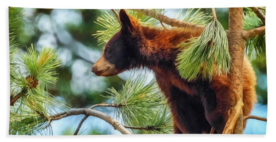 Bears Hand Towel featuring the digital art Bear Cub In A Tree 3 by Ernie Echols