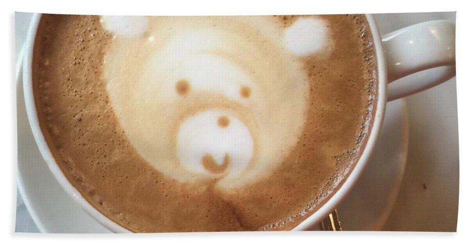 Barista Bath Sheet featuring the photograph Bear Cup Latte by Susan Garren