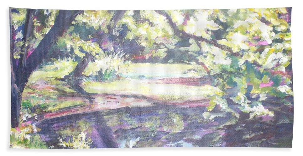 Landscape Hand Towel featuring the painting Bear Pond by Sheila Holland