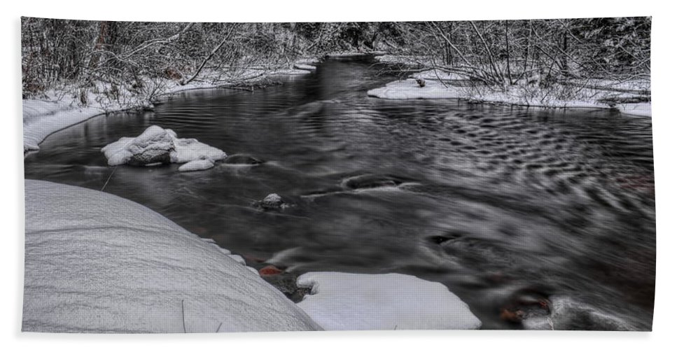 Winter Hand Towel featuring the photograph Bearskin Creek Riffles by Dale Kauzlaric
