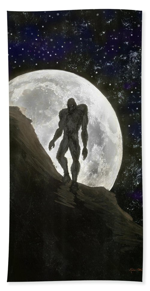 Beast Hand Towel featuring the painting Beast At Full Moon by Kevin Middleton