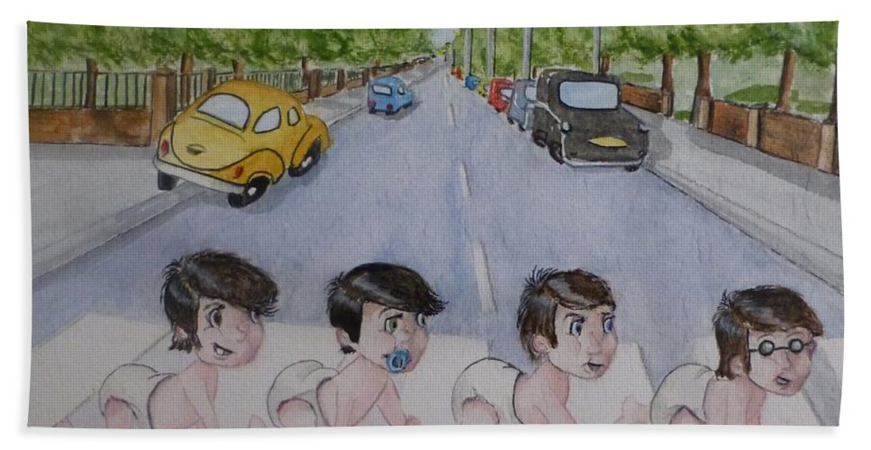 Beatles Hand Towel featuring the painting Beatles Abbey Road .... Babies by Kelly Mills