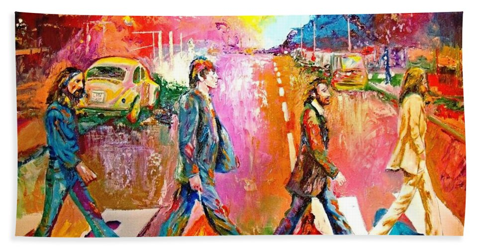 Impressionistice Version Hand Towel featuring the painting Beatles Abbey Road by Leland Castro