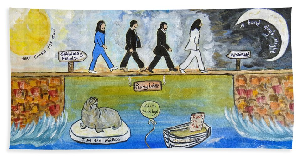 The Beatles Bath Towel featuring the painting Beatles Song Titles Original Painting Characterization by Ella Kaye Dickey