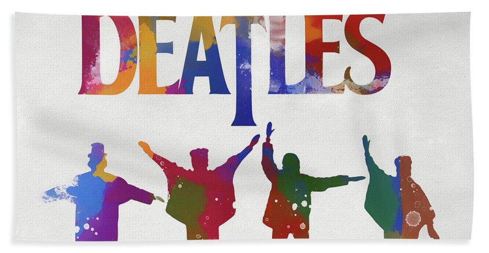 Beatles Watercolor Poster Bath Towel featuring the painting Beatles Watercolor Poster by Dan Sproul