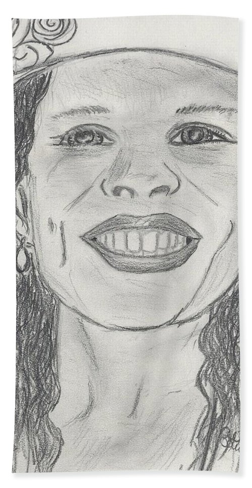 Graphite Bath Sheet featuring the drawing Beatriz by Ali Baucom