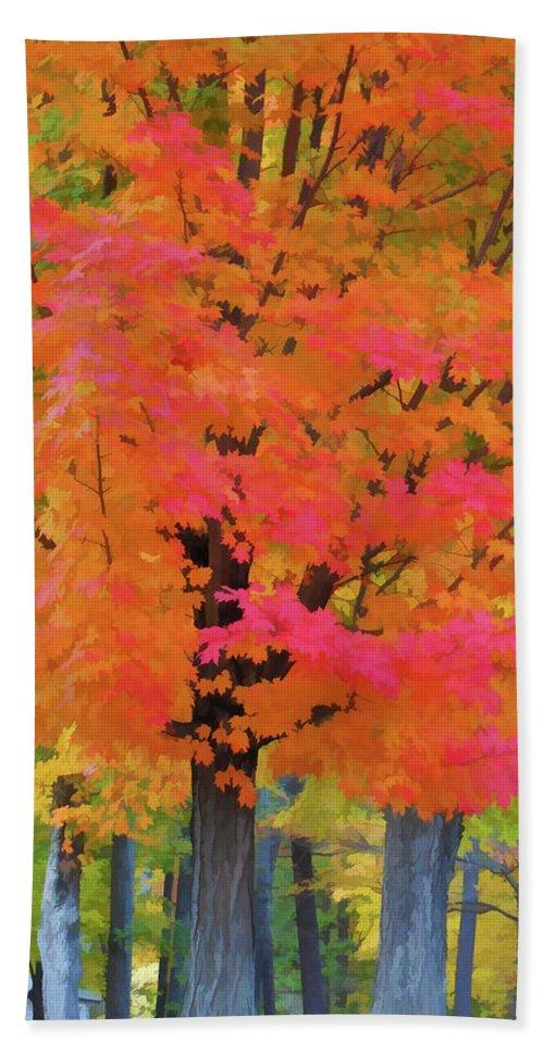 Beautiful Autumn Day Bath Sheet featuring the painting Beautiful Autumn Day by Jeelan Clark