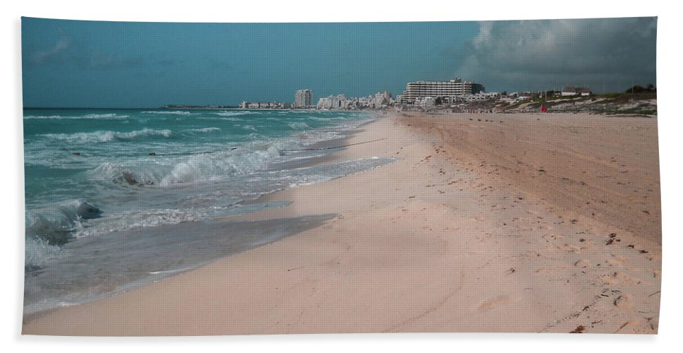 Beach Hand Towel featuring the digital art Beautiful Beach In Cancun, Mexico by Nicolas Gabriel Gonzalez
