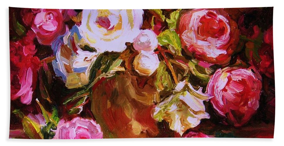 Roses Hand Towel featuring the painting Beautiful Bouquet by Carole Spandau