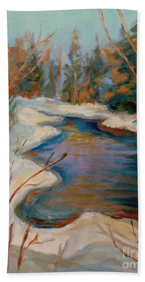 Beautiful Brook In Winter Hand Towel featuring the painting Beautiful Brook In Winter by Carole Spandau