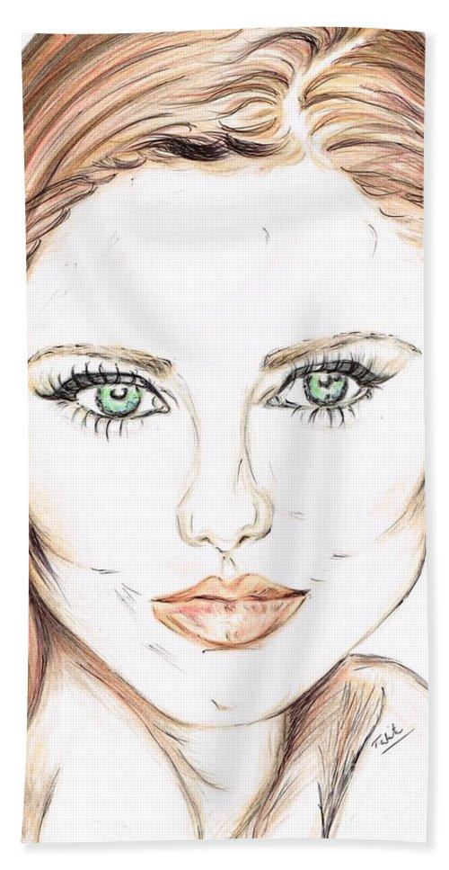 Teresa White Bath Sheet featuring the drawing Brunette- So Beautiful by Teresa White