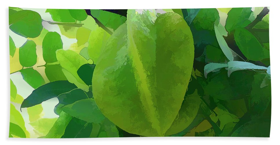Star Apple Fruit On The Tree Bath Sheet featuring the painting Beautiful Carambola Fruit Tree by Jeelan Clark