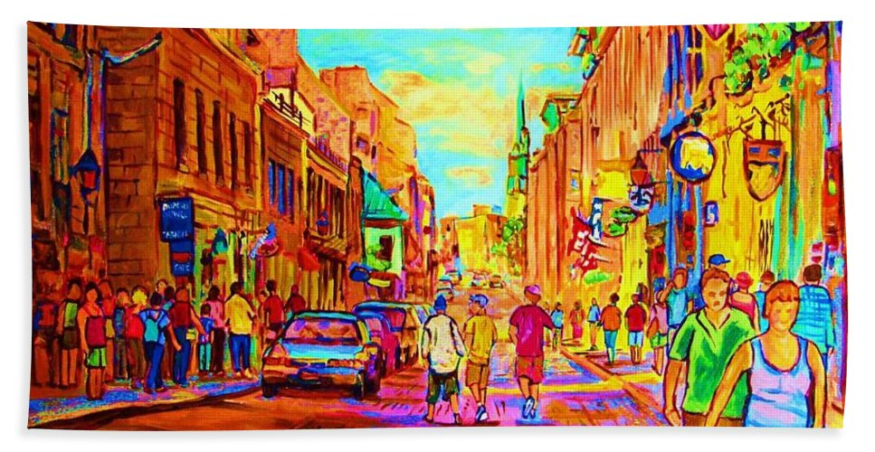 Old Montreal Bath Towel featuring the painting Beautiful Day In The City by Carole Spandau