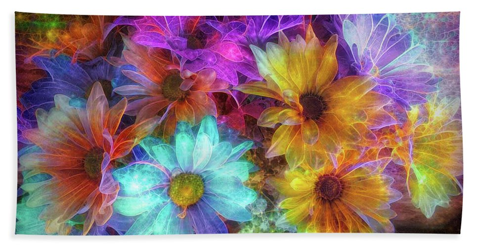 Flowers Bath Sheet featuring the mixed media Beautiful Flowers by Lilia D