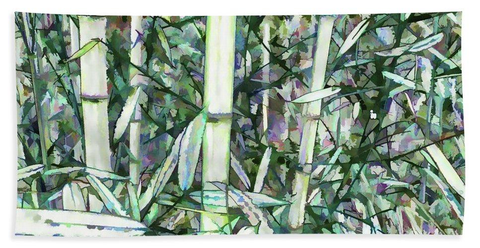 Beautiful Green Leaf Bamboo Bath Sheet featuring the painting Beautiful Green Leaf Bamboo by Jeelan Clark