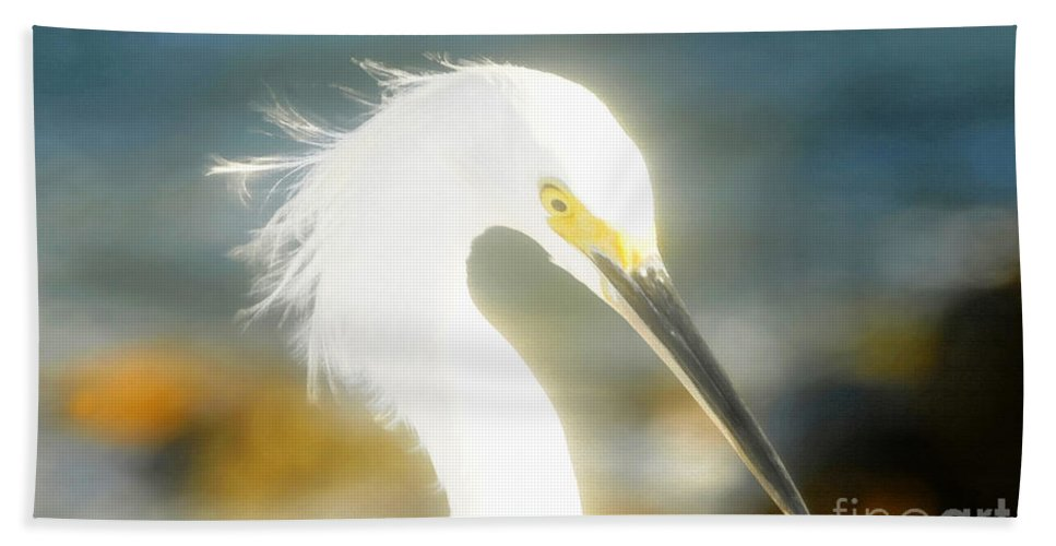 Snowy Egret Hand Towel featuring the painting Beautiful In White by David Lee Thompson