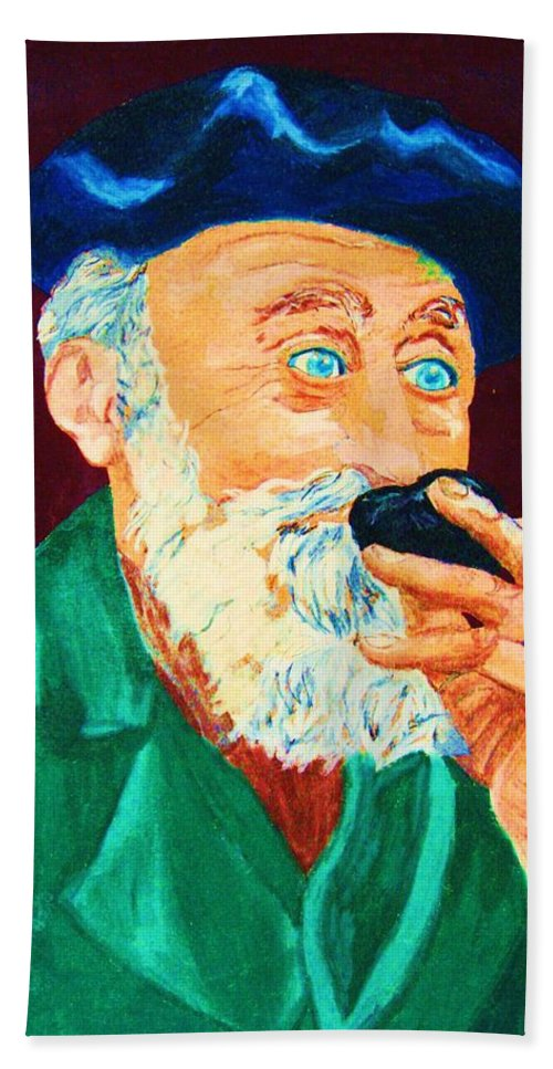 Portraits Hand Towel featuring the painting Beautiful Old Blue Eyes by Carole Spandau