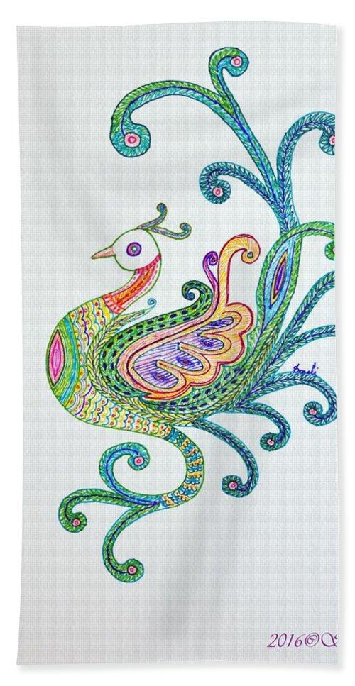Art For Kidsroom Bath Sheet featuring the drawing Beautiful Peacock by Sonali Gangane
