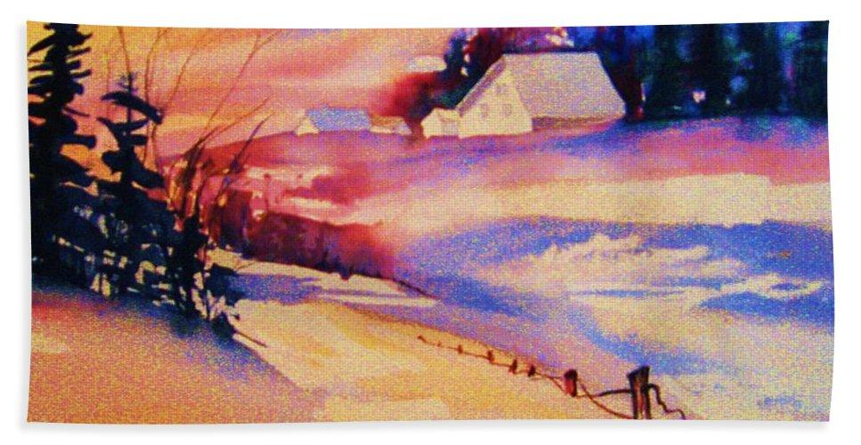 Winterscene Bath Sheet featuring the painting Beautiful Serenity by Carole Spandau