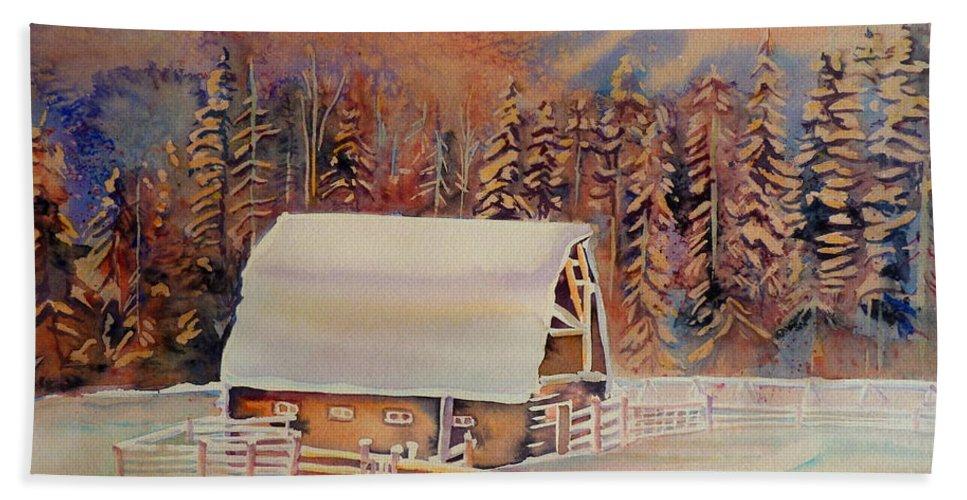 Beautiful Skies Hand Towel featuring the painting Beautiful Skies by Carole Spandau