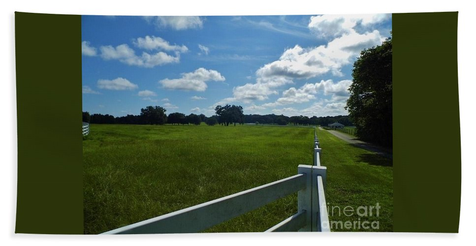 Blue Sky Hand Towel featuring the photograph Beautiful Sky At The Farm by D Hackett
