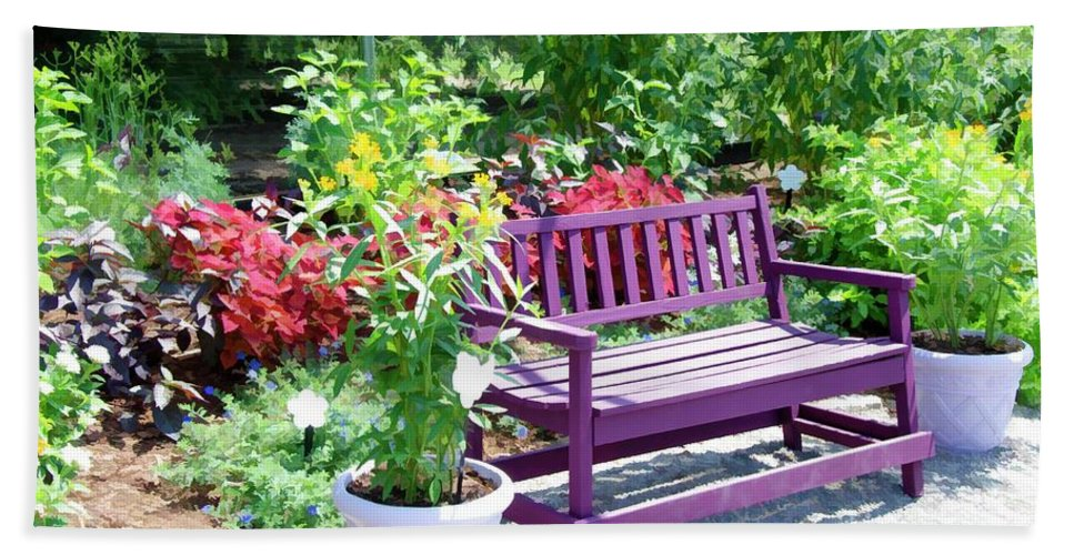 Bench And Containers Bath Sheet featuring the painting Beautiful Spot For Relaxing 4 by Jeelan Clark