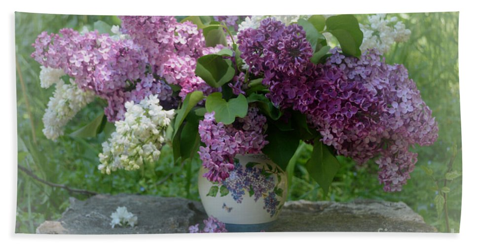 Lilacs Hand Towel featuring the photograph Beautiful Spring Flowers In A Vase by Luv Photography