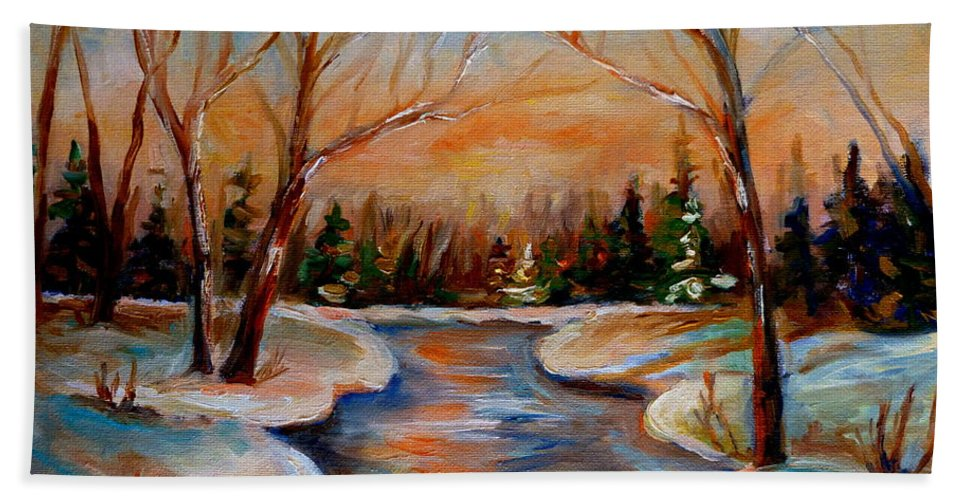 Hand Towel featuring the painting Beautiful Spring Thaw by Carole Spandau